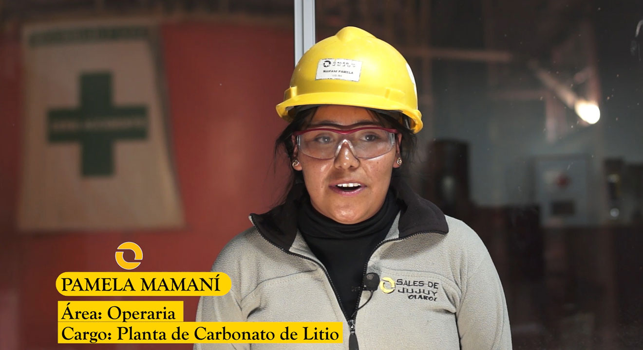 Female employee being interviewed at the Olaroz Lithium Facility