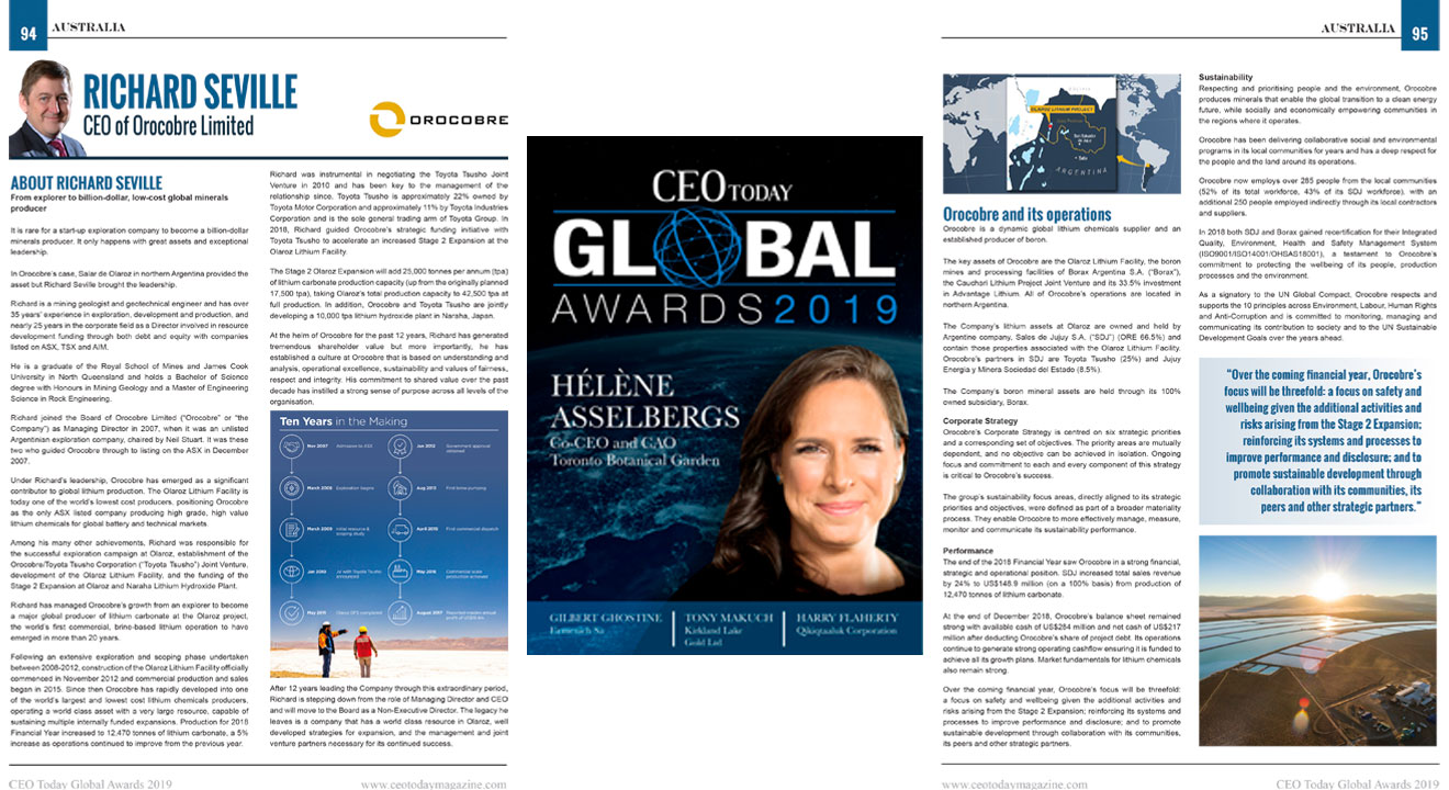 Front cover artwork of CEO TODAY MAGAZINE'S 2019 CEO GLOBAL AWARDS WINNERS' EDITION