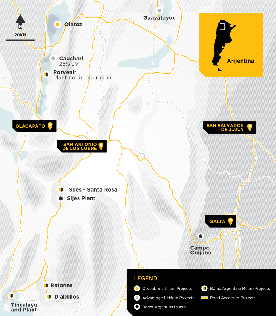 Orocobre Limited 2019 Operations and Projects Map