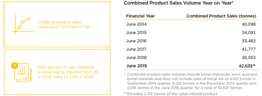 BORAX ARGENTINA Combined Product Sales Volumes Year on Year - 2019