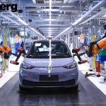 VW Electric Car being assembled by robots